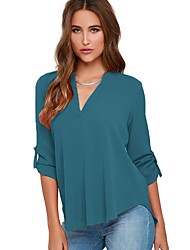 Women's Lake Green V Neck Loose Fitting Chiffon Blouse