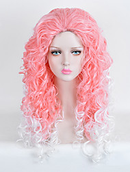 Cream White to Pink Two Tone Color Ombre Wig Curly Daily Fashion Heat Resistant Wig for Eurpoean and American Women