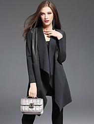 Damen Solide Einfach Lässig/Alltäglich Mantel / Capes,Herbst V-Ausschnitt Langarm Schwarz / Grau Polyester