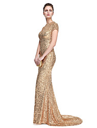 TS Couture® Prom  Formal Evening Dress - Celebrity Style / Elegant Trumpet / Mermaid Jewel Sweep / Brush Train Sequined with Sequins