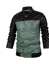 Men's Casual/Daily Simple Leather Jackets,Color Block Long Sleeve Fall Blue / Green Cowhide Medium