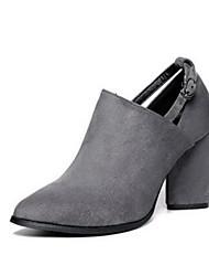 Damen-High Heels-Lässig-WildlederKomfort-Schwarz / Grau