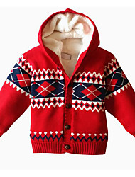 Baby Casual/Daily Jacquard Sweater & Cardigan,Cotton Fall-Red / Gray
