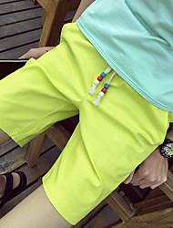 Masculino Solto Chinos Calças-Cor Única Casual Simples Cintura Alta Com Cordão Algodão Micro-Elástico Verão