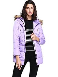 Women's Regular Down Coat,Simple Casual/Daily Solid-Fox Fur White Duck Down Long Sleeve Blue / White / Beige / Green / Purple