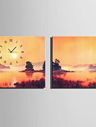 Moderne/Contemporain Autres Horloge murale,Carré Toile40 x 40cm(16inchx16inch)x2pcs/ 50 x 50cm(20inchx20inch)x2pcs/ 60 x