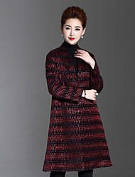 1898 Women's Plus Size / Casual/Daily Simple CoatStriped V Neck Long Sleeve Winter Red Polyester