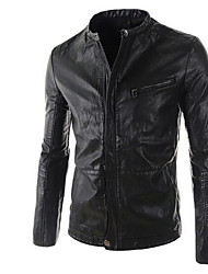 Men's Going out / Casual/Daily Simple Leather Jackets,Solid Stand Long Sleeve Fall Black / Brown PU Medium