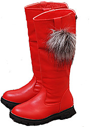 Girl's Boots Fall Winter Comfort Cowhide Dress Casual Low Heel Zipper Black Red Walking Others