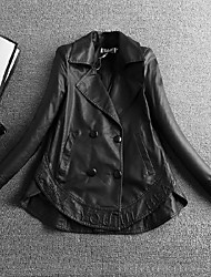 Women's Going out / Casual/Daily / Party/Cocktail Simple Leather Jackets,Solid Shirt Collar Long Sleeve Spring / Fall Black PU Medium