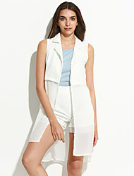 Women's Casual/Daily Simple / Street chic Summer Set,Solid V Neck Sleeveless White / Black Polyester Thin