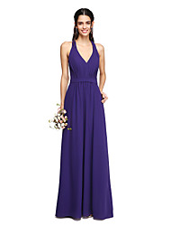 Lanting Bride® Floor-length Chiffon Elegant Bridesmaid Dress - Sheath / Column V-neck with Draping Sash / Ribbon