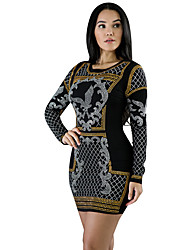 Women's Going out / Casual/Daily Street chic Hot Fix Rhinestone Bodycon DressPrint / Color Block Round Neck Above Knee Long Sleeve