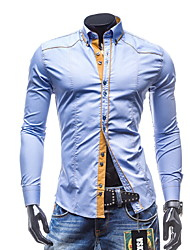 Men'S Characteristic Line Slim Mens Long Sleeve Shirt