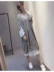 Women's Going out Vintage Sweater Dress,Solid Crew Neck Midi Long Sleeve White / Gray Cotton Spring High Rise Micro-elastic Medium