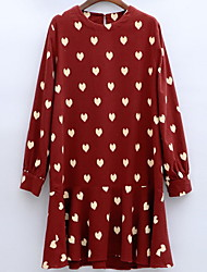 Women's Casual/Daily Simple Loose Dress,Polka Dot Round Neck Above Knee Long Sleeve Multi-color Cotton Fall / Winter Mid Rise