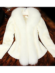 Women's Going out / Casual/Daily Simple Fur Coat,Solid Crew Neck Long Sleeve Fall / Winter White Faux Fur Thick