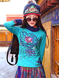Our Story Women's Casual/Daily Boho T-shirtEmbroidered Stand Long Sleeve Blue Cotton / Spandex