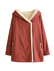 Women's Going out / Casual/Daily Cute / Street chic Jackets,Solid Hooded Long Sleeve Fall / Winter Red Lamb Fur Medium