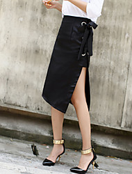 Women's A Line Solid Skirts,Casual/Daily Street chic High Rise Asymmetrical Zipper PU Inelastic Fall / Winter