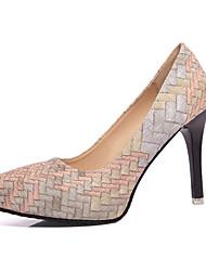 Women's Heels Fall Winter Comfort PU Casual Low Heel Zipper Blue Red Beige Others