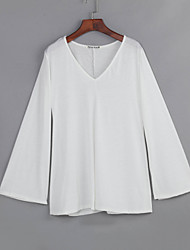 Women's Casual / Simple Spring / Fall Slim T-shirt,Solid V Neck Flare Sleeve Long Sleeve White / Black Polyester Medium