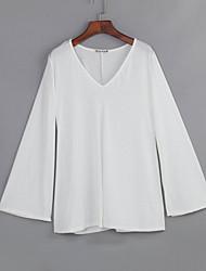 Damen Solide Einfach Lässig/Alltäglich T-shirt,V-Ausschnitt Frühling / Herbst Langarm Weiß / Schwarz Polyester Mittel