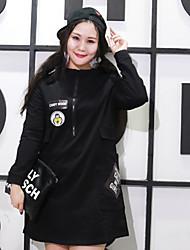 Nininiu Women's Casual/Daily Simple Sheath DressSolid Hooded Knee-length Long Sleeve Black Polyester Fall / Winter High Rise Micro-elastic Medium