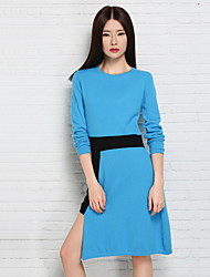 Women's Going out / Casual/Daily Cute Sweater Dress,Solid Round Neck Knee-length Long Sleeve Blue / Red Cotton Fall Low Rise Micro-elastic