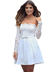 Women's Off-the-shoulder Long Sleeve Lace Bodice Pleated Flare Dress