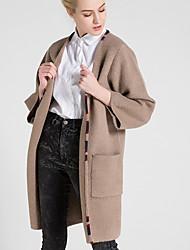 Damen Lang Strickjacke-Lässig/Alltäglich Einfach Solide Braun V-Ausschnitt Langarm Wolle Frühling Herbst Mittel Mikro-elastisch