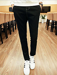 Men's Straight Jeans Pants,Casual/Daily Simple Solid Mid Rise Zipper Cotton Micro-elastic Spring / Summer
