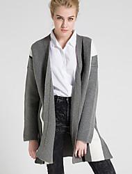 Damen Lang Strickjacke-Lässig/Alltäglich Einfach Einfarbig Grau V-Ausschnitt Langarm Wolle Frühling Herbst Mittel Mikro-elastisch