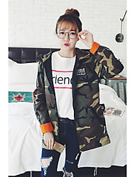 Women's Casual/Daily Simple Jackets,Camouflage Long Sleeve Fall / Winter Green Cotton Medium