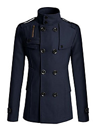 Men's Casual/Daily / Work Simple Trench Coat,Solid Stand Long Sleeve All Seasons Blue / Beige / Black / Gray Wool Medium