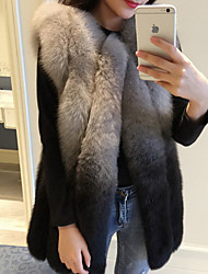 Women's Going out / Casual/Daily Cute Jackets,Color Block Round Neck Sleeveless Fall Gray Faux Fur Medium
