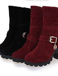 Women's Boots Winter Comfort Patent Leather Casual Chunky Heel Black Burgundy