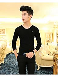 Tee-shirt Hommes,Couleur Pleine Décontracté / Quotidien simple Manches Longues Col en V Blanc / Noir / Gris Coton Moyen