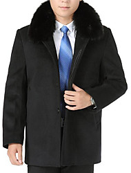 Men's Plus Size / Casual/Daily Simple Trench Coat,Solid Long Sleeve Black Wool