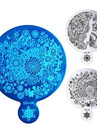 1pcs flores borboleta placas de arte prego grande estampagem espelhar forma