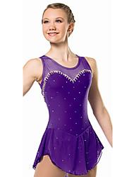 Vestidos de Patinação no Gelo Mulheres Sem Mangas Skate Vestidos Elasticidade Alta Vestido para Patinação no Gelo Respirável Confortável