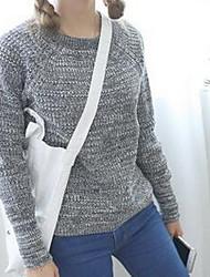 Damen Standard Pullover-Lässig/Alltäglich Einfach Solide Schwarz Grau Orange Rundhalsausschnitt Langarm Baumwolle Herbst Mittel