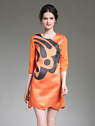 Gaine Robe Femme Décontracté / Quotidien Sophistiqué,Imprimé Bateau Au dessus du genou ½ Manches Orange Polyester Automne Taille Normale