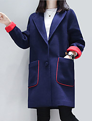 Women's Casual Simple Coat,Color Block Notch Lapel Long Sleeve Winter Blue / Black Wool / Polyester Thick