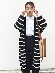 Sign Striped long cardigan sweater coat was thin woman