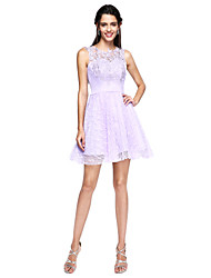 A-Line Jewel Neck Knee Length Lace Tulle Cocktail Party Dress with Appliques
