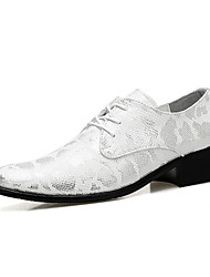 Men's Oxfords Fashion Wedding Shoes Comfort Leather Shoes Party & Evening Flat Heel Lace-up Black / Silver / Gold