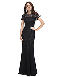 Mermaid / Trumpet Jewel Neck Floor Length Lace Prom Formal Evening Dress with Lace by TS Couture®