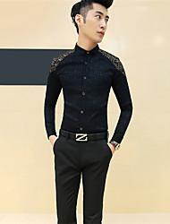 Masculino Camisa Casual / Escritório / Formal Estampado Manga Comprida Algodão Preto