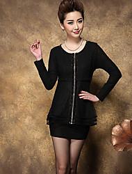 Zeichen Frühjahr neue Frauen&# 39; s große Frauen&# 39; s Spitzen Nähen dünnes T-Shirt Strickjacke ältere Mutter Kleid